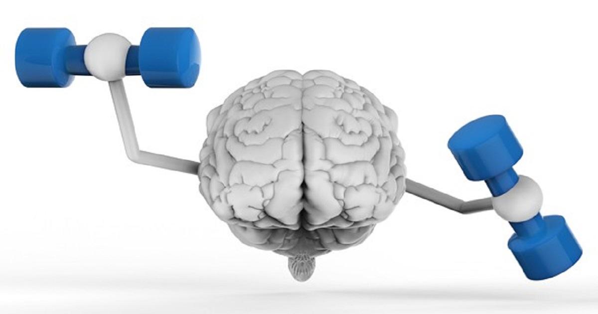 Brain Holding Dumbbells